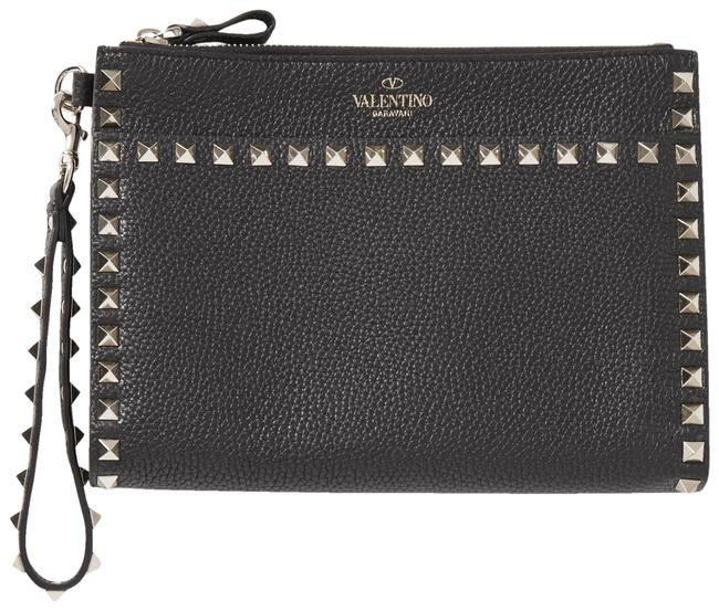 Item - Garavani Rockstud Textured-leather Pouch Black Leather Wristlet