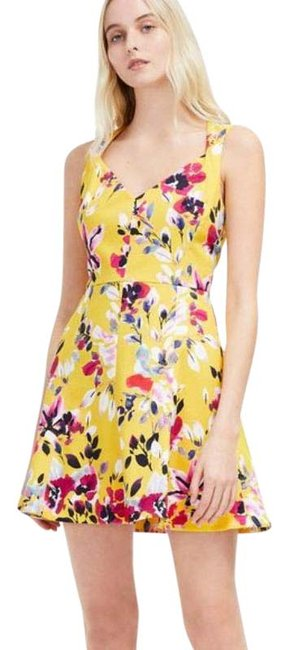 Item - Yellow Pink Floral Print Cotton Short Casual Dress Size 6 (S)