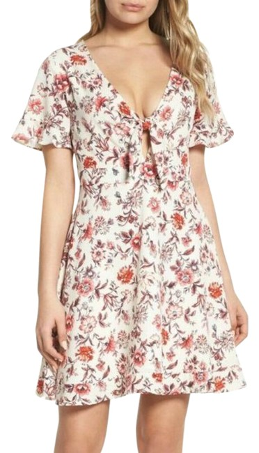 Item - White Floral Red Print Ruffle Flare Mini Short Casual Dress Size 4 (S)