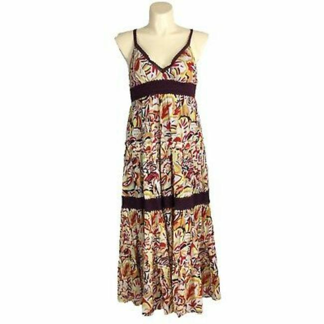 Item - Burgundy Peach Cream Bcbg Max Azria Floral Full Tier with Crochet Lace Long Casual Maxi Dress Size 10 (M)