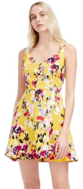 Item - Yellow Pink Floral Print Cotton Short Casual Dress Size 4 (S)