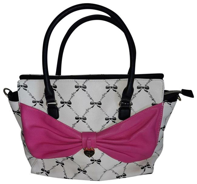 Item - Adorable Off White Background with All Over Black Bow Design and A Bright Pink Bow In Front. The Handles Are Black. Pvc Satchel