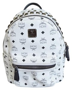 MCM Stark Black White Studded Backpack