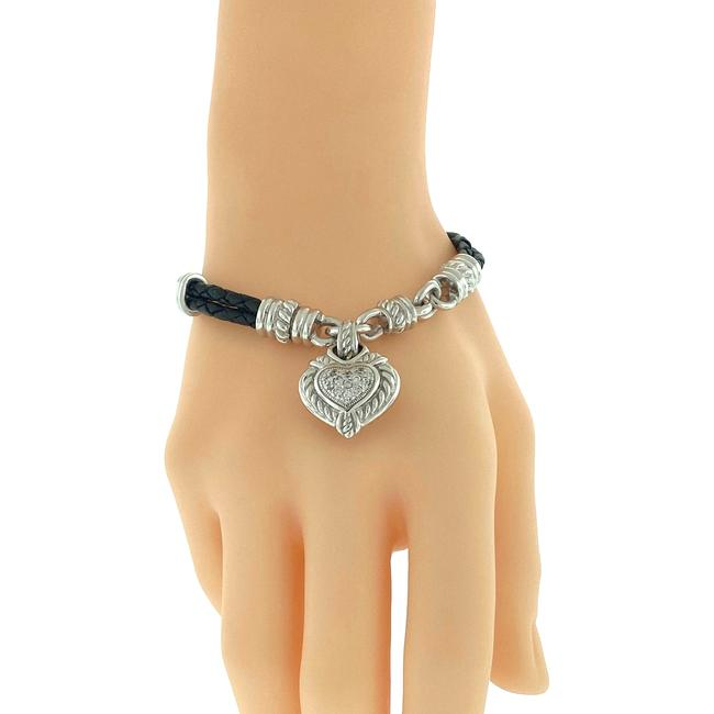 Item - Black Sterling Silver Heart Cz Charm On A Leather Bracelet