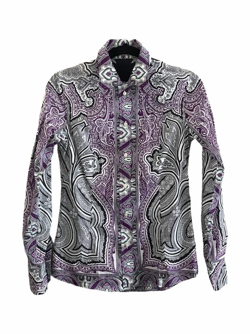 Item - Multi-colored Paisley Print Long Sleeve Button-up Cardigan Size 8 (M)