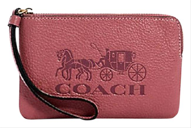 Item - Corner Zip New Colorblock Horse & Carriage Rose Pink-gold Pebbled Leather Wristlet