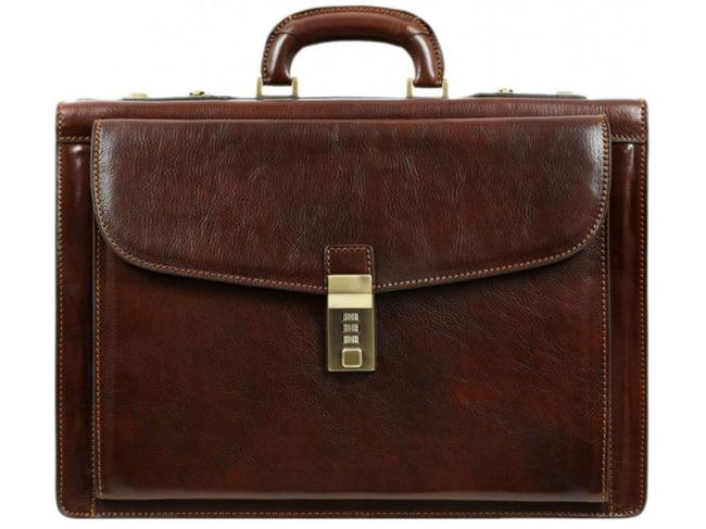 Item - The Watchmen - Briefcase/Laptop/Attache Case Dark Brown Cowhide Leather Laptop Bag