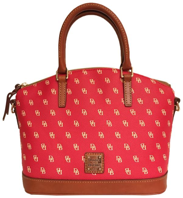 Item - Darcy Coated Red Brown White Canvas Satchel