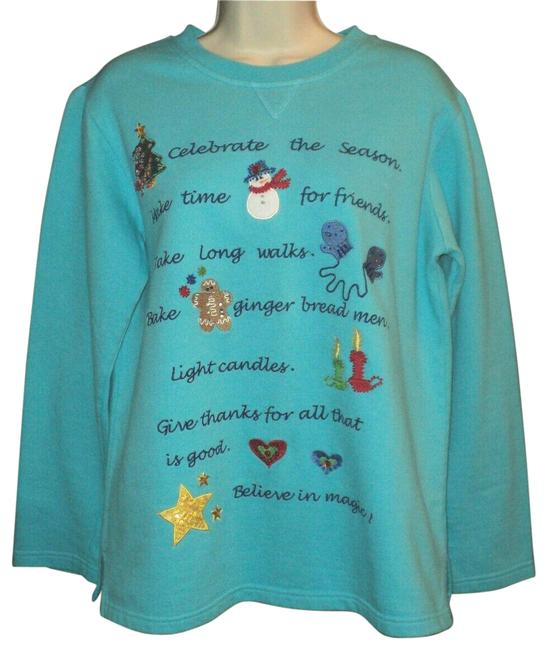 Item - Teal Blue Oversized Measures As A M Holiday Embellished Sweatshirt/Hoodie Size 2 (XS)