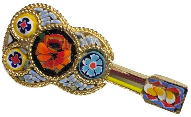 Item - Gold Glass Mosaic Floral Guitar Brooch Pin