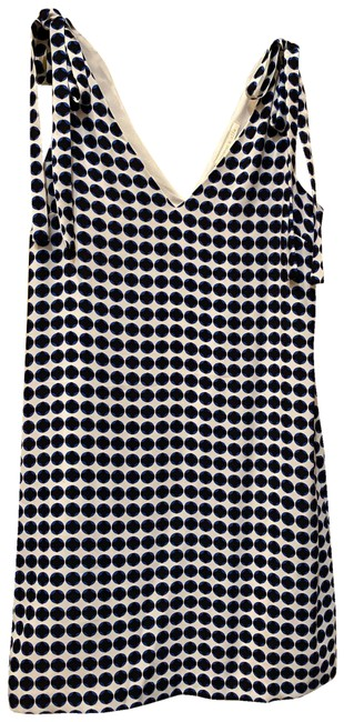 Item - White Background with Black and Deep Blue Dots Tie Shoulders Short Work/Office Dress Size 2 (XS)