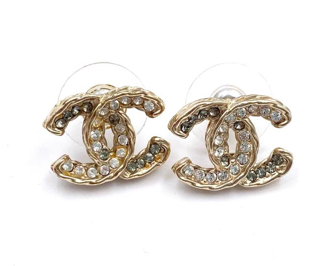 Item - Gold Grey Twisted Cc Silver Crystal Piercing Earrings