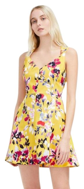 Item - Yellow Pink Floral Print Cotton Short Casual Dress Size 12 (L)
