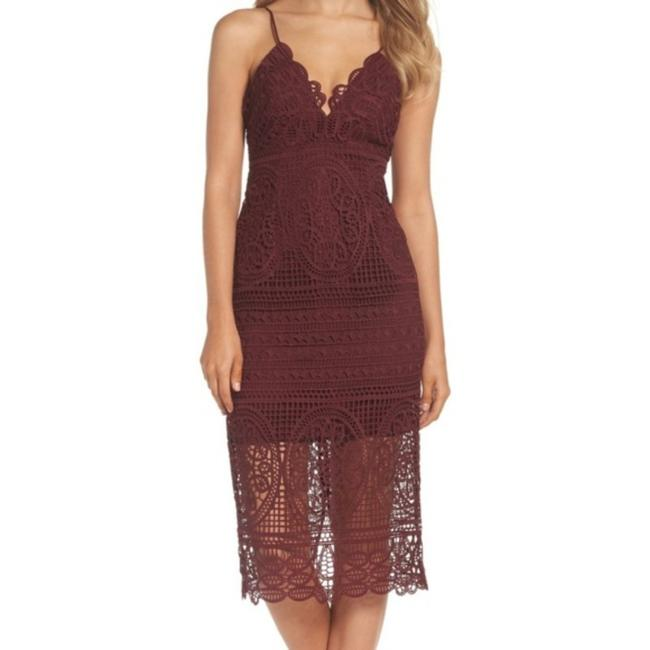 Item - Red Versailles Lace Pencil Mid-length Cocktail Dress Size 4 (S)