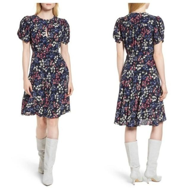 Item - Blue White Puff Sleeve Floral Print Navy Silk A-line Mid-length Short Casual Dress Size 2 (XS)