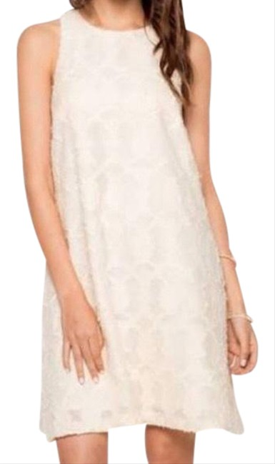 Item - Ivory Cream Sleeveless Lace Midi Short Cocktail Dress Size 12 (L)