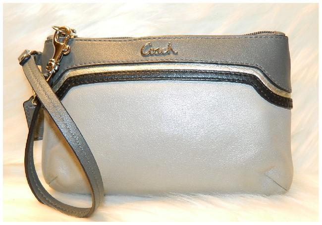 Item - New with Tags~ Spectator Medium Grey-silver-navy Genuine Leather Wristlet