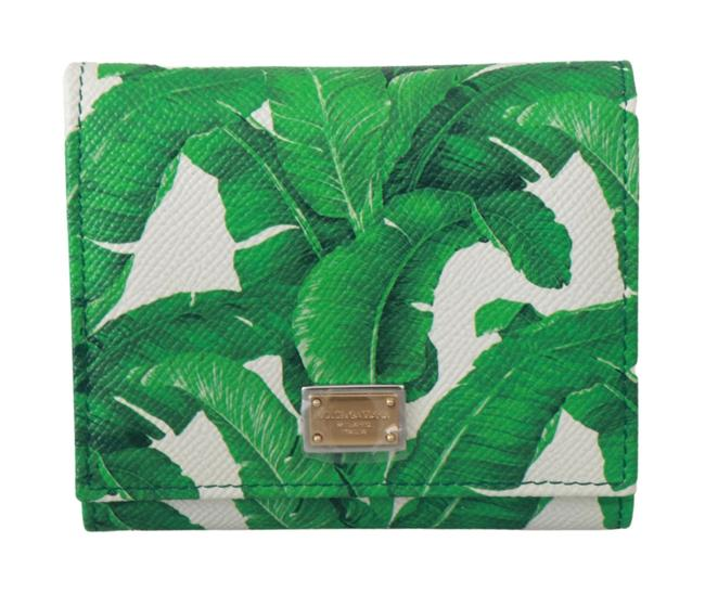Item - Banana Leaves Trifold Credit Card Wallet Green Leather Clutch