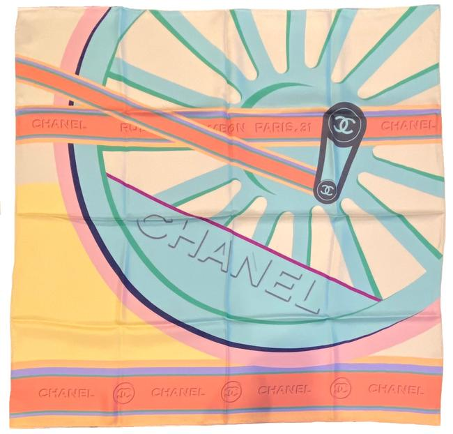 Item - Orange Blue Yellow Pastel Colors Wheel Cc Print Silk Square Scarf/Wrap