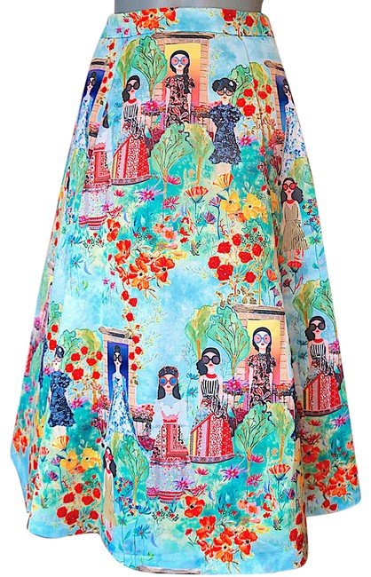 Item - Multi with Tag Print Palace Pleated Skirt Size 0 (XS, 25)