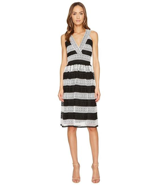Item - Black and White Scenic Route Lace Colorblock Stripe Fit Flare Mid-length Cocktail Dress Size 10 (M)