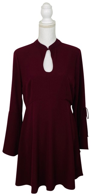 Item - Burgundy Bell Sleeve Fit and Flare Mid-length Work/Office Dress Size 12 (L)