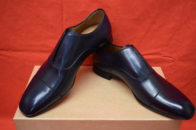 Item - Blue Alpha Male Flat Navy Leather Cap Toe Loafers 45 / Us 12 Shoes