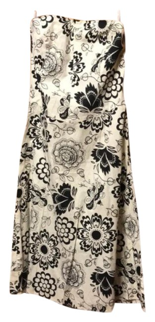 Item - Beige/Black Strapless Fit/Flare Floral Tea Length Mid-length Short Casual Dress Size 4 (S)