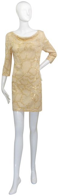 Item - Gold Evening Mid-length Night Out Dress Size 6 (S)