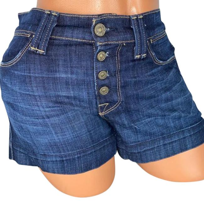 Item - Blue Exposed Button Fly Finished Hem Jean Shorts Size 0 (XS, 25)