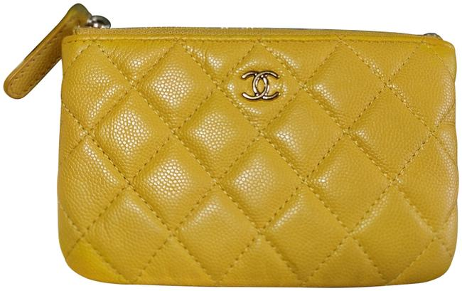 Item - Yellow 675920 Caviar Quilted Small Pouch Case