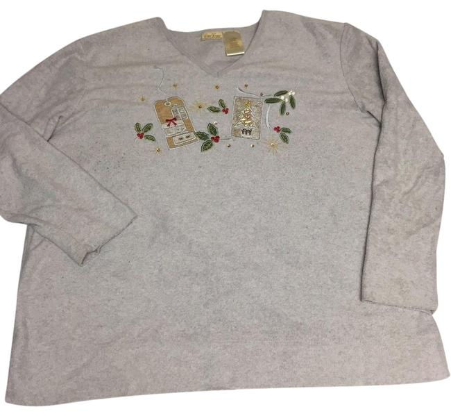 Item - 18w / 20w Ugly Christmas Holiday Tacky V Neck Gray Sweater