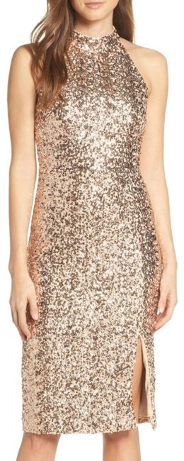 Item - Gold Sequin Embellished Body-con Cocktail Dress Size 4 (S)
