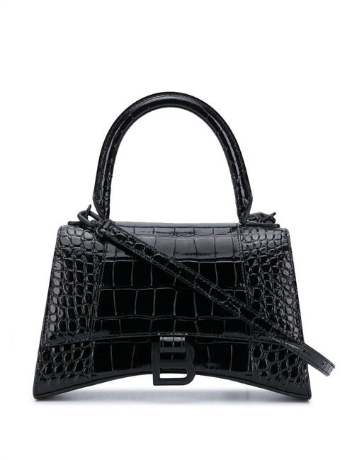 Item - Top Handle Small Hourglass In Shiny Crocodile Embossed Calfskin Black Leather Shoulder Bag