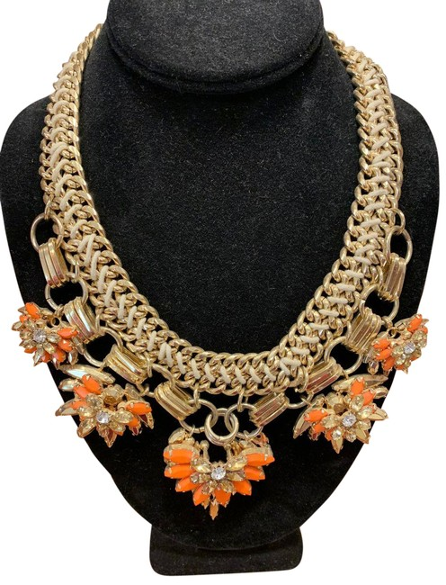 Item - Gold with Orange Stones Statement Necklace