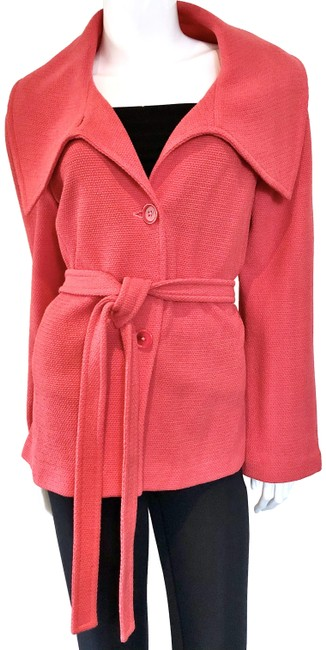 Item - Red Stretch Knit Belted Casual Jacket Size 12 (L)