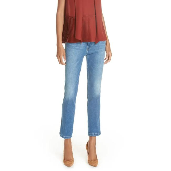 Item - Blue Distressed Cropped High Straight Leg Jeans Size 10 (M, 31)