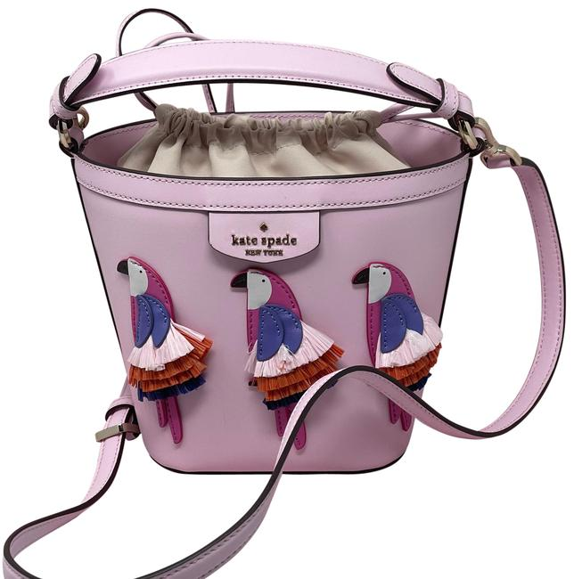 Item - Bucket Flock Party Parrot Pink Leather Cross Body Bag