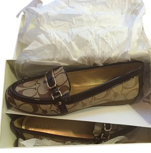 Coach Signature Loafers Gold Dressy Brown Flats
