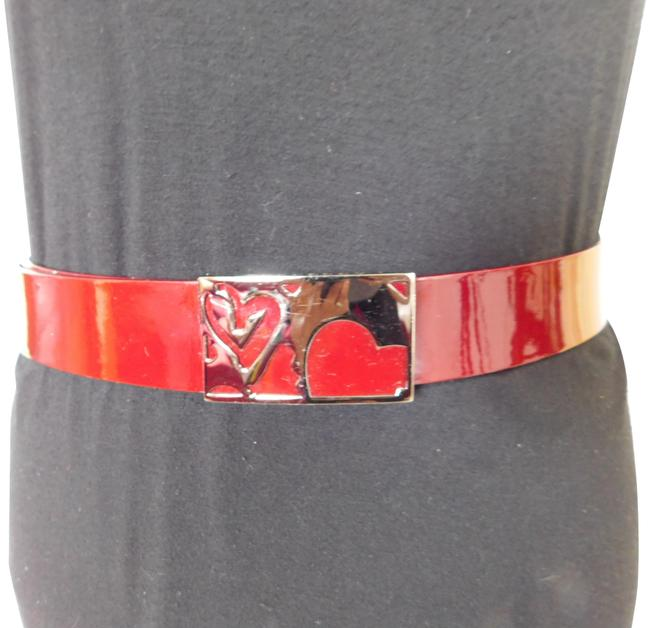 Item - Raspberry Red Patent Leather Heart Buckle Belt