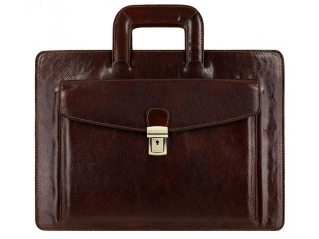 Item - The Tempest - Briefcase/Laptop/Attache Case Dark Brown Cowhide Leather Laptop Bag