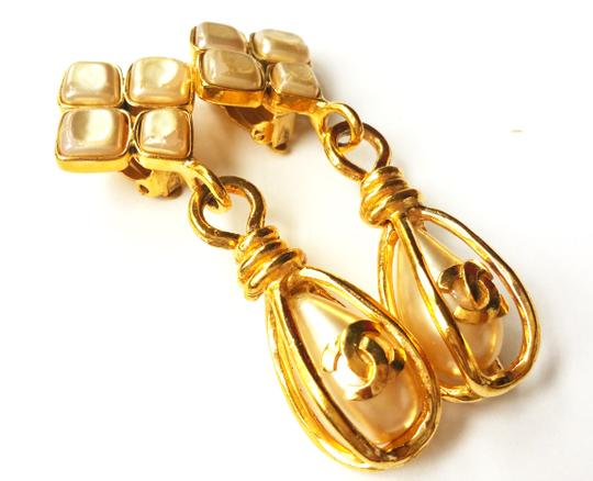 Chanel Chanel Faux Pearl 24k Gold Plated CC Dangle Clip on Earrings