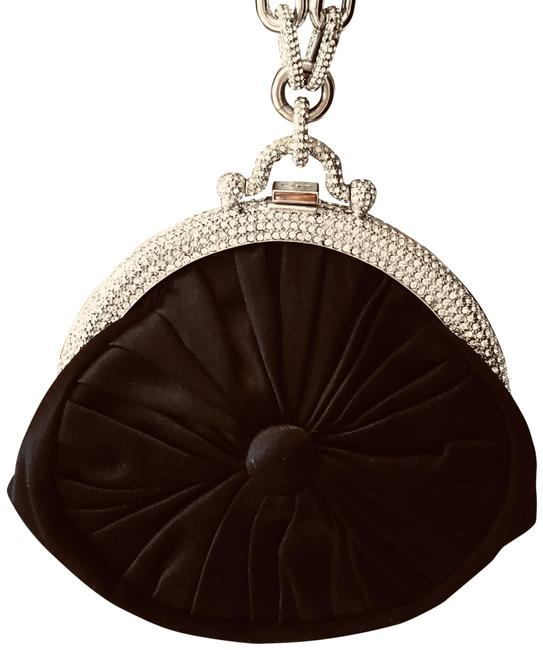 Item - Evening Bag Black /Silver/Crystals Sateen Wristlet