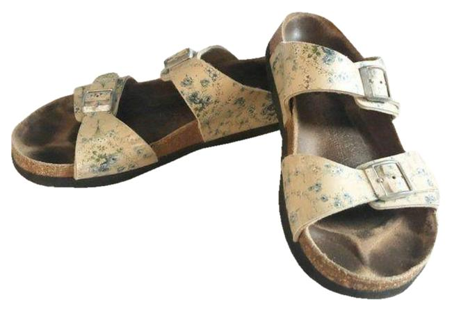 Item - Cream Blue Floral Birki's Tahiti Sandals Size US 8 Narrow (Aa, N)
