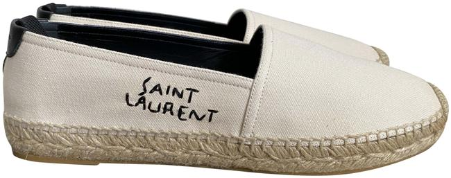 Item - White Ysl Embroidered Logo Canvas Espadrille Flats Size EU 38.5 (Approx. US 8.5) Regular (M, B)