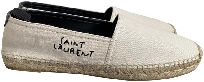 Item - White Ysl Embroidered Logo Canvas Espadrille Flats Size EU 39 (Approx. US 9) Regular (M, B)