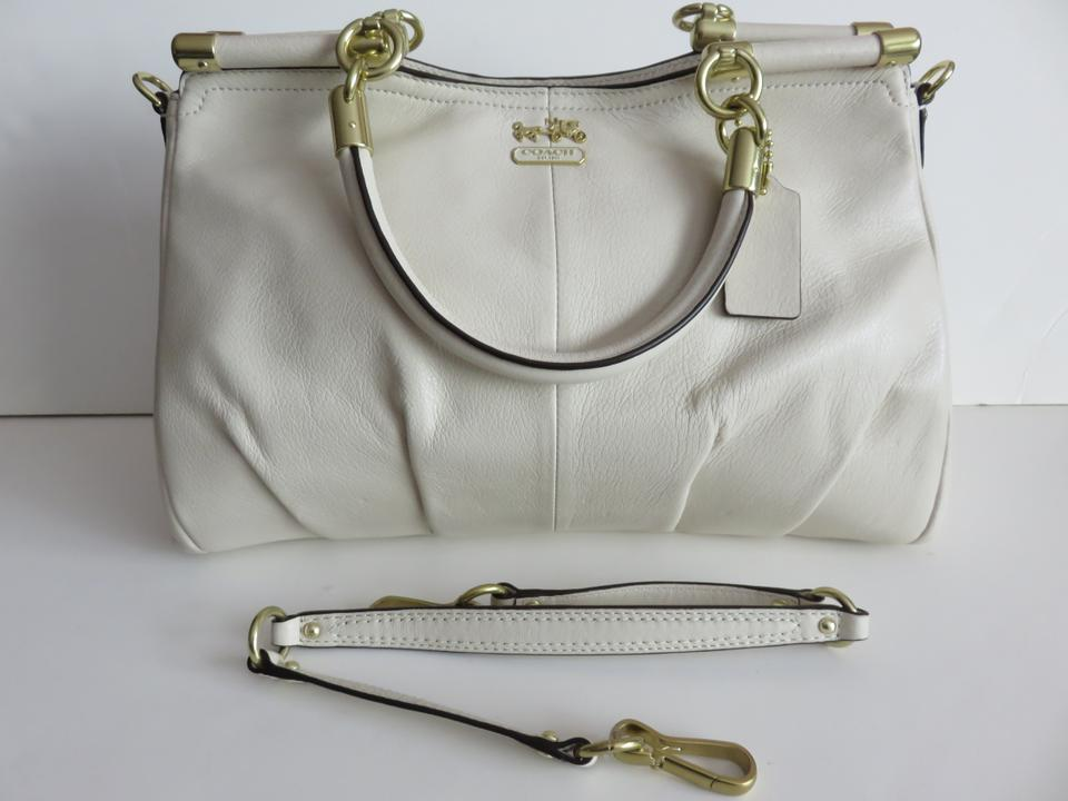 Coach Carrie Parchment Madison Bone Ivory Cream Off White Leather Satchel