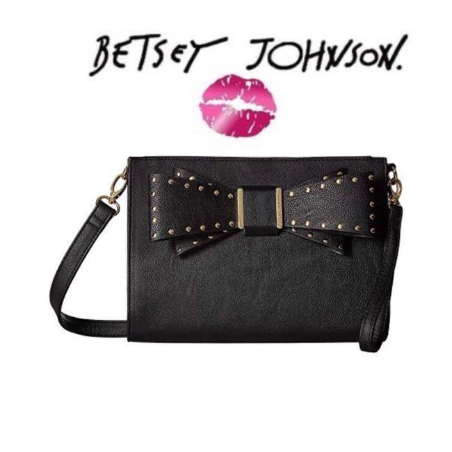 Item - Studded Bow Black Faux Leather Cross Body Bag