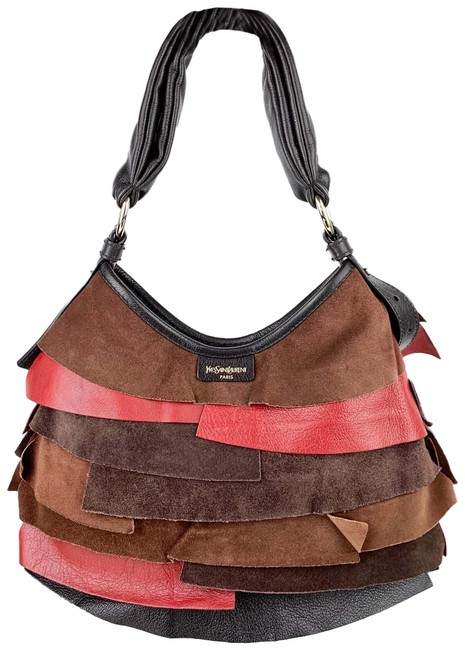 Item - Tropez Brown/Black/Red Leather Hobo Bag