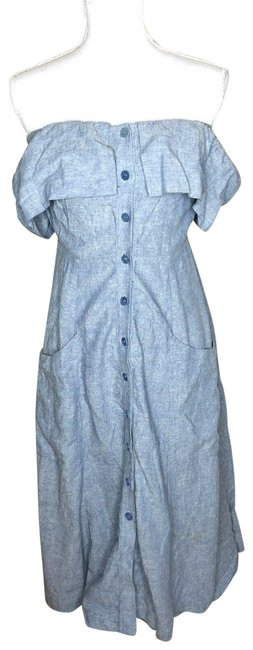 Item - Blue Womens Denim Chambray Button Off The Shoulder Long Casual Maxi Dress Size 4 (S)